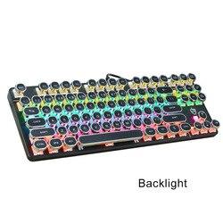 Przewodowa mechaniczna klawiatura do gier 104 klawiszy przełączniki dla graczy z 9 efektami oświetleniowymi EM88
