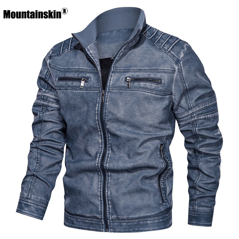 Mountainskin Leather Jacket Mens Winter Autumn Men's Motorcycle PU Jacket Fashion Windproof Coats Male Brand Clothing 6XL SA791