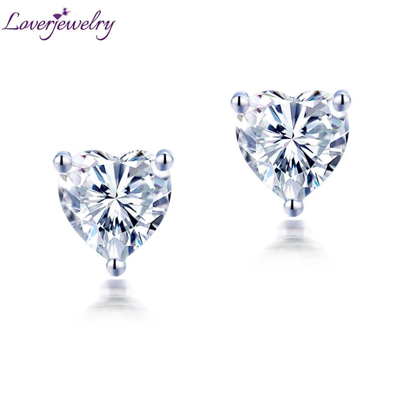 Femmes Moissanite boucles d'oreilles goujon solide 14K or blanc 1ct 2ct coeur brillant Moissanite pour Layd fiançailles OL Style bijoux de mode