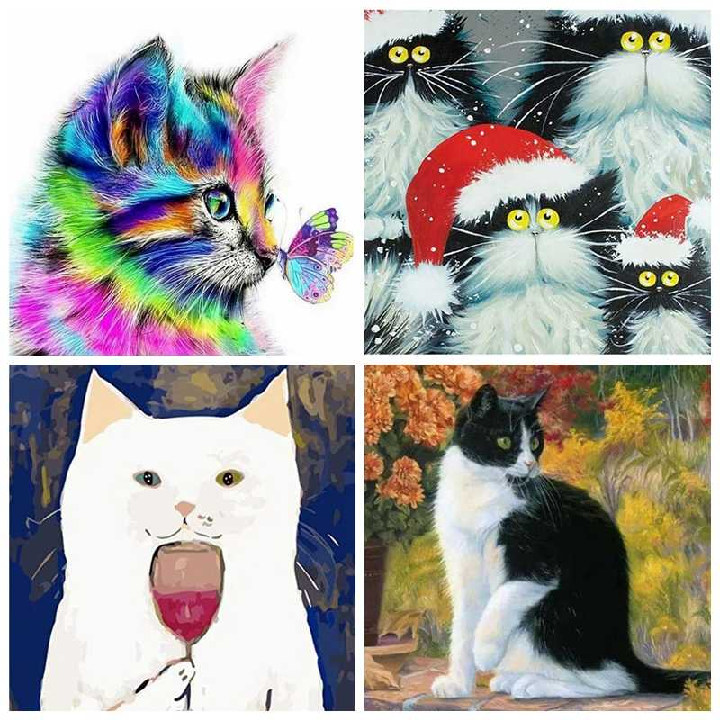 Cat With Bird Home Decor DIY Adult Animal Art Painting by Numbers Picture Divided by Numbers Kit for Adult with Unique Design Red Cat Perfect Gift