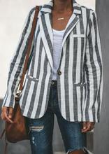 Fashion Vertical Black White Striped Women Coat Long Sleeve Stylish Lady Jacket Casual Wide-waisted Coat Female Jacket Winter