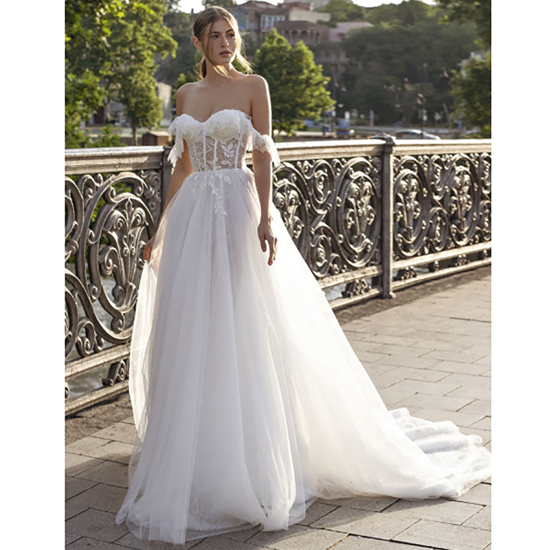 Verngo A Line Wedding Dress Boho Lace Appliques Tulle Wedding Gowns 2020 Off The Shoulder Bride Dress Elegant Vestido De Noiva