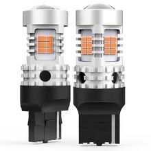2X T20 W21W 7440 7440NA مصباح إشارة الانعطاف LED لمبات Canbus خطأ مجاني لا فرط فلاش 3020SMD أضواء السيارة 2200k العنبر الأصفر 12 فولت