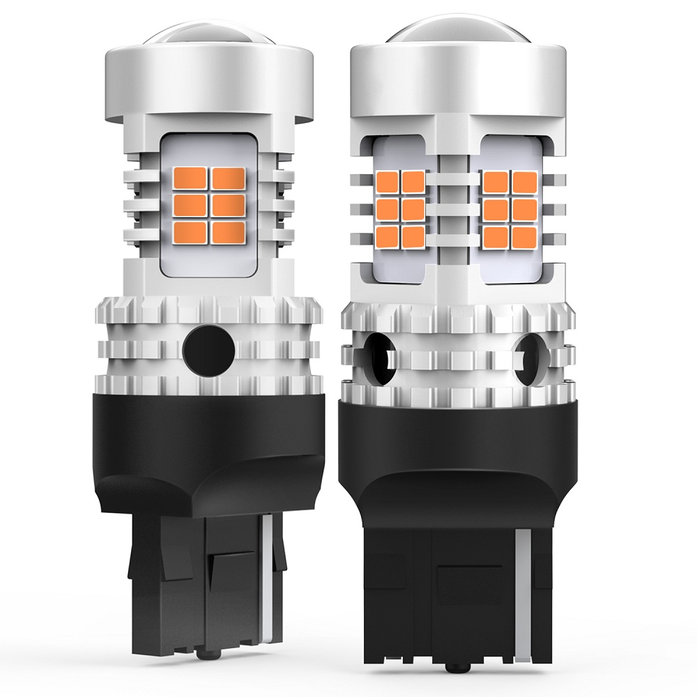 2X <font><b>T20</b></font> W21W WY21W <font><b>7440</b></font> 7440NA <font><b>LED</b></font> Turn Signal Light Bulbs Canbus Error Free No Hyper Flash 26SMD Amber Yellow 12V image