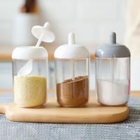 Creative home milk bottle seasoning pot spoon lid integral moisture-proof transparent seasoning bottle seasoning bottle ketchup