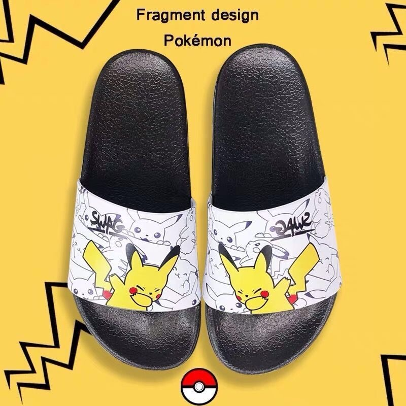 Anime Piakchu Slippers Pokemon Squirtle Slippers Men Women Kawaii Cosplay Spring Summer Girl Non-slip Large Size Home Shoes