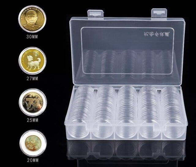 100Pcs 30 millimetri Moneta Custodie Capsule Supporto di Plastica Trasparente Scatola Di Immagazzinaggio Rotonda 28Set