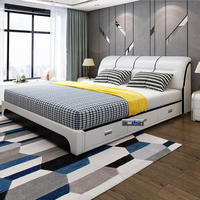 modern european solid wood bed Fashion Carved leather french bedroom furniture hp004