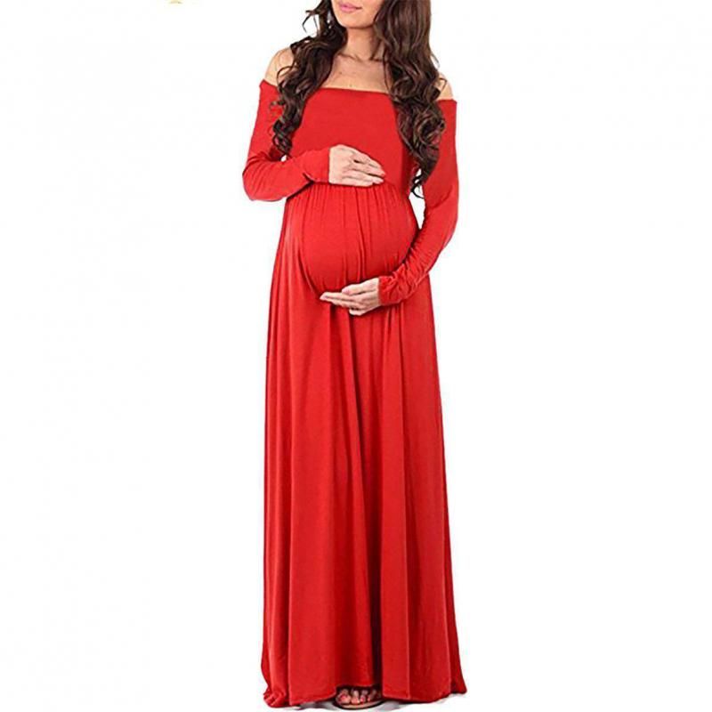 Fashion Pregnancy Dress Photography Maternity Dresses For Baby Showers Pregnant Women Long Sleeve Maxi Dress For Photo Shoot