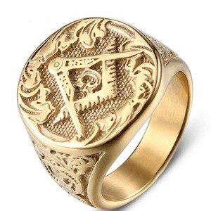 Мужское большое кольцо-печатка masonic, золотистое кольцо из нержавеющей стали, ювелирное изделие в стиле панк-рок