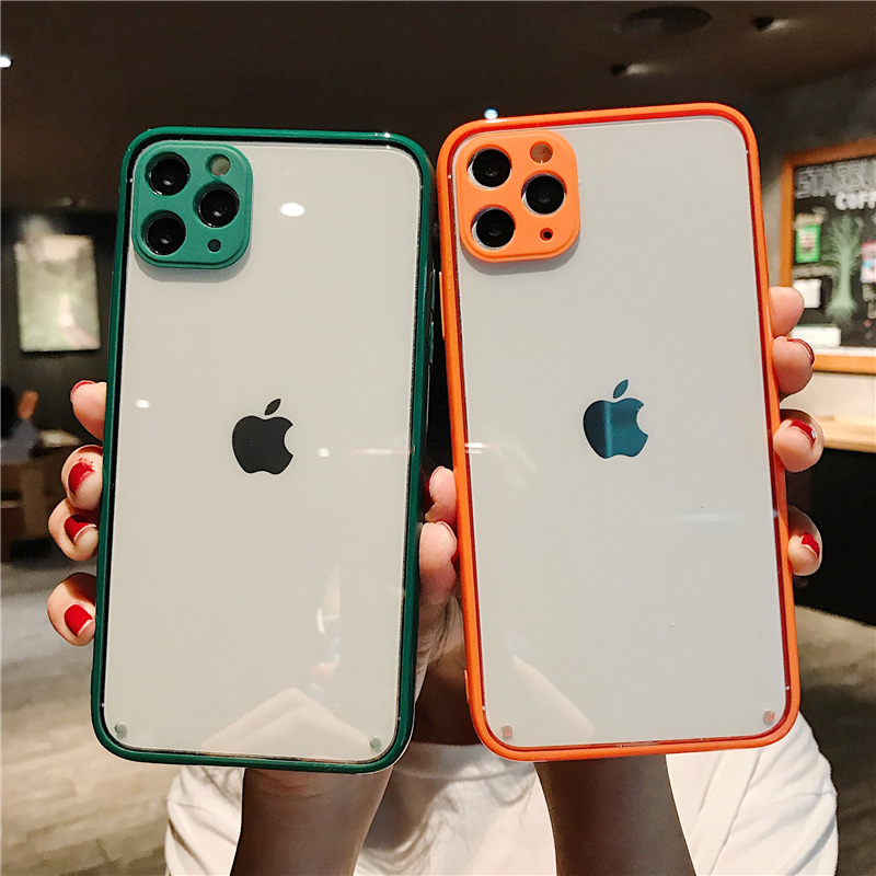 Fully protected lens Phone Case For iPhone 11 11Pro Max SE X XR Xs Max 7 8 Plus Candy Color Edge Clear Phone Case capa