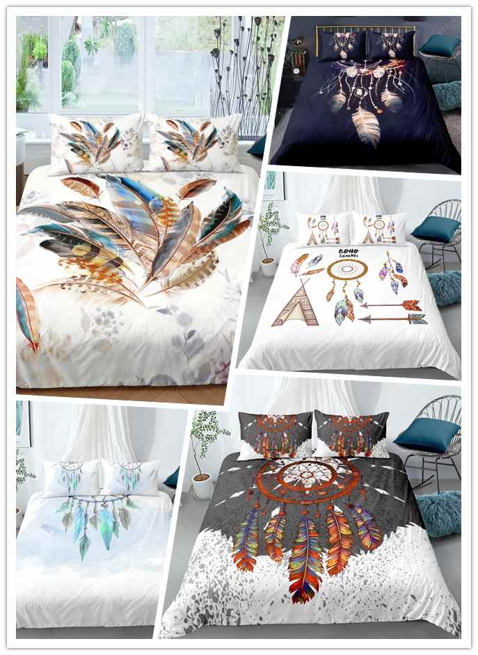 3D White DreamCatcher Bedding Set Boho Feathers Duvet Cover Set Flowers Bed Set with Pillowcase King Queen Home textile