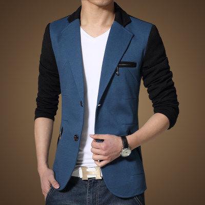 2020 Blazer Men Autumn Patchwork Men Suit Casual Thin Slim Fit Fashion Blazer Masculino Single Button Plus Size M-5XL HJ490