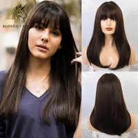"""Blonde Einhorn 18 """"Lange Gerade Frauen Perücken mit Pony Ombre Braun Synthetische Natürliche Haar Perücken für Frauen African American"""