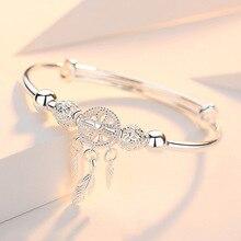 Женский Регулируемый браслет из стерлингового серебра 925 пробы с перьями и кисточками в виде Ловец снов, элегантный браслет sl209