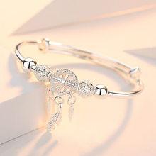 Atrapasueños ajustable de Plata de Ley 925 para mujer, borla de pluma, brazalete de cuentas redondas, joyería elegante sl209