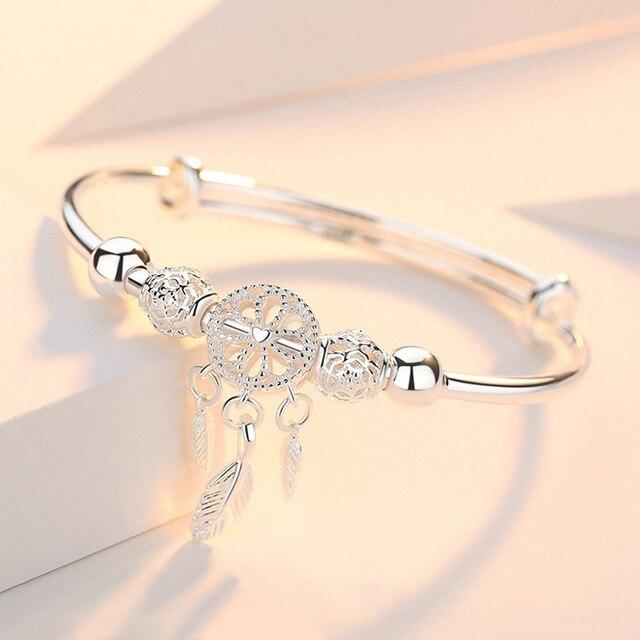Adjustable 925 Sterling Silver Dreamcatcher Tassel Feather Round Bead Charm Bracelet &Bangle For Women Elegant Jewelry sl209