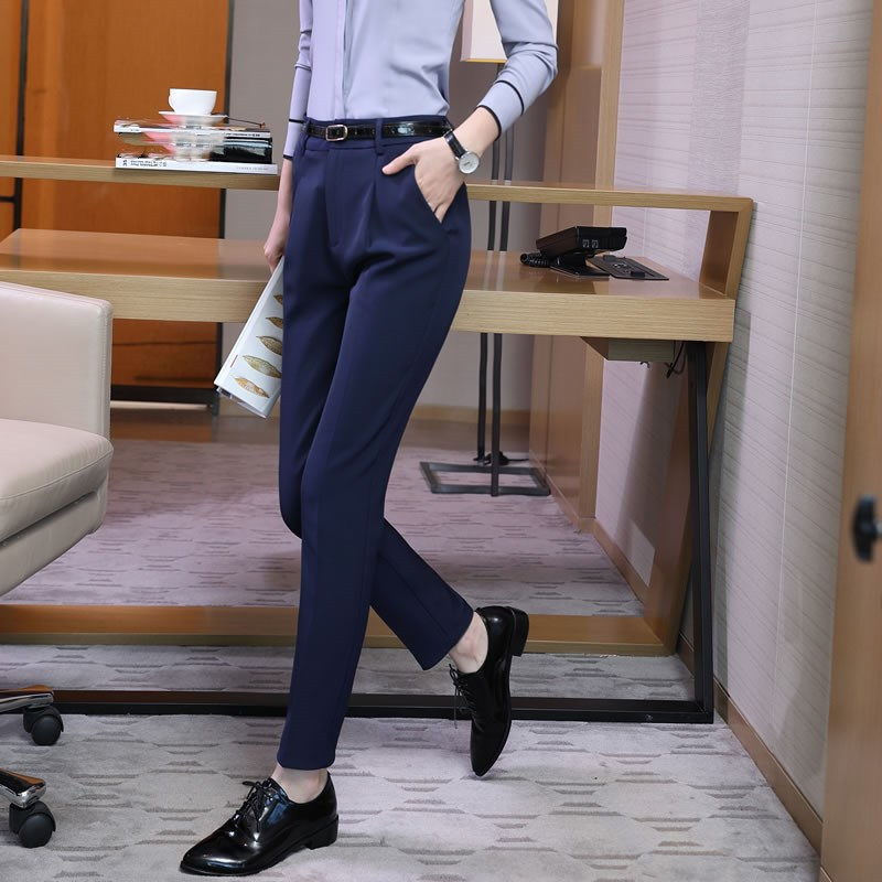 Office Lady Pants Women Nice Spring Ol Pantalon Femme Casual Pants Elastic High Waist Slim Work Wear