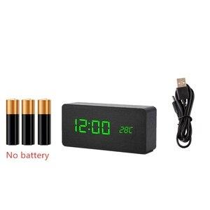 Image 5 - MULTICOLOR LED ไม้นาฬิกาปลุกนาฬิกาควบคุมเสียงดิจิตอลไม้ Despertador Desktop อิเล็กทรอนิกส์ USB/AAA นาฬิกา