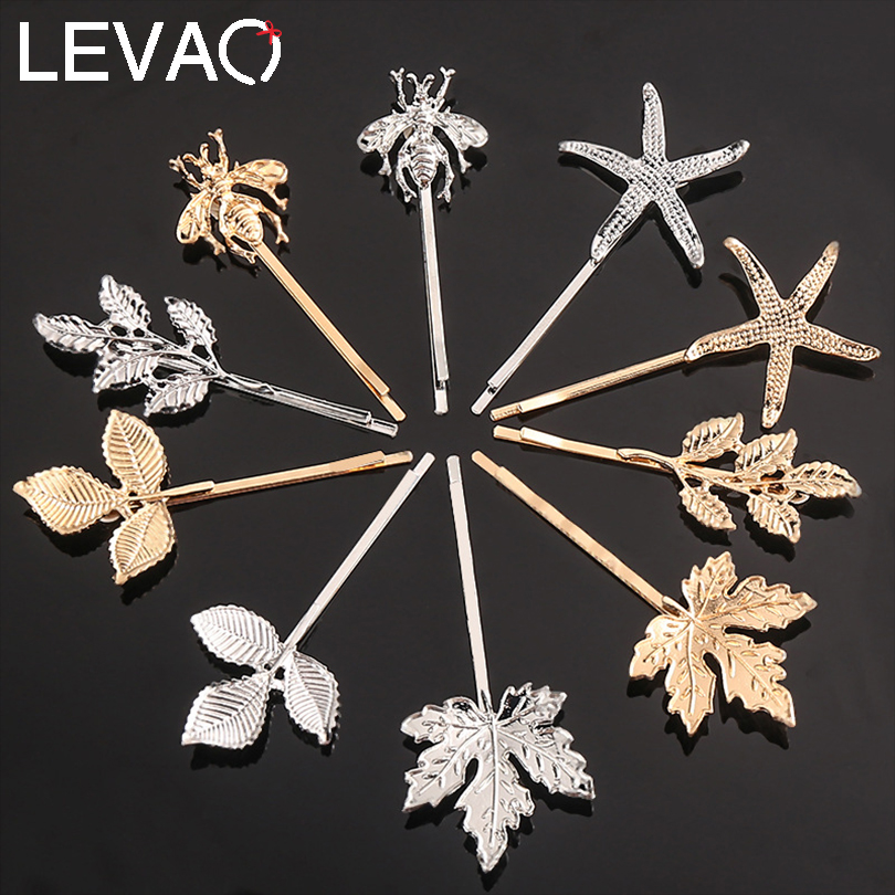 LEVAO 1PC New Women Girls Sweet Metal Ins Hair Ornament Hair Clips Fashion Headwear Hairpins Barrettes Headband Hair Accessories