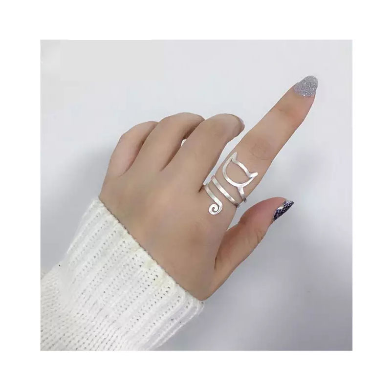 Personality Design 925 Sterling Silver Wrap Around Cat Rings For Women Girl Jewelry Anillos Size 18mm S-R280