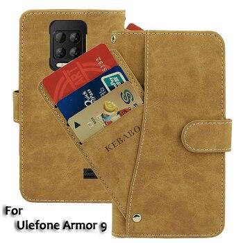 Перейти на Алиэкспресс и купить Винтаж кожаный бумажник чехол-накладка Ulefone Броня 9 чехол 6,3 дюймФлип Роскошный чехол со слотом для карт на магните для телефона защитный чехол s ...