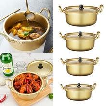 Korea Yellow Aluminum Noodle Pot Ramen Cooker w/ Lid Fast Cooling for Soup