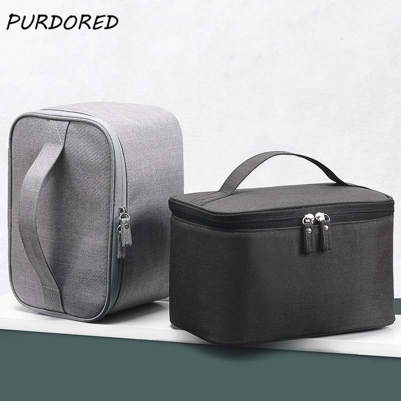 PURDORED 1 Pc Large Cosmetic Bag For Men Travel Oxford Waterproof Makeup Bag Organizer Case Make Up Wash Toiletry Bag Neceser