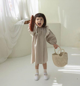3883 Autumn New Girl Princess Dress Cotton Linen Long Sleeve Dress 1-7Years Girl Loose Clothes All Match Lovly Kids Dress