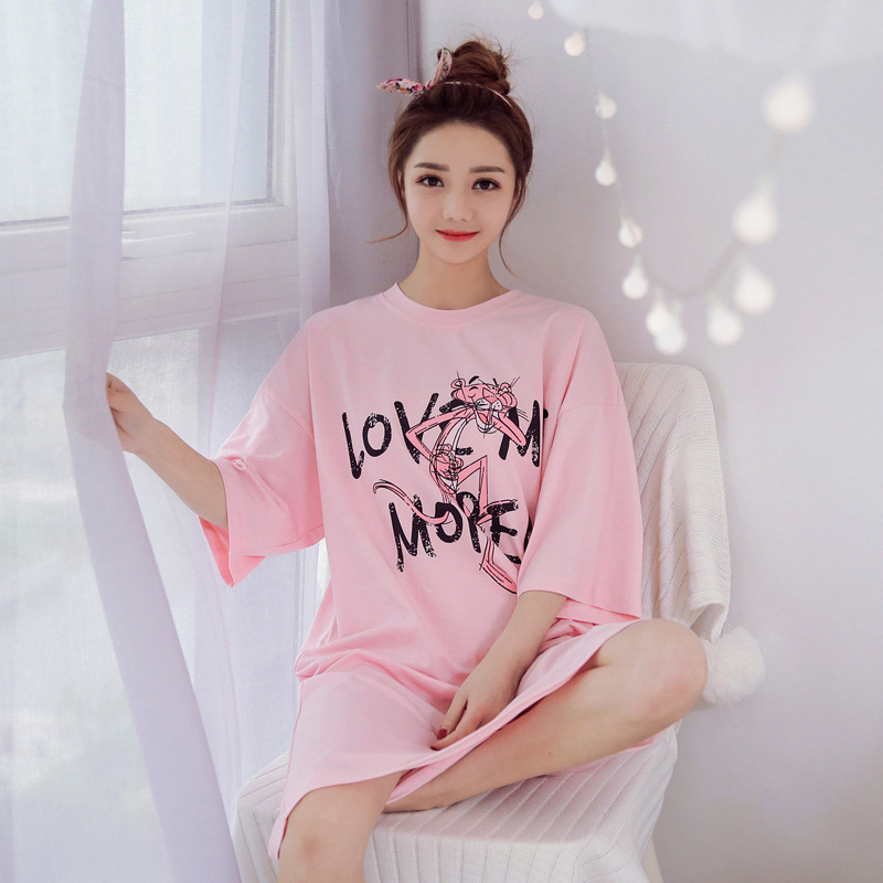 Korean-style New Style Short Sleeve Fresh Princess Middle School Students Sweet Pink Panther Pajamas Women's Summer Home Nightgo