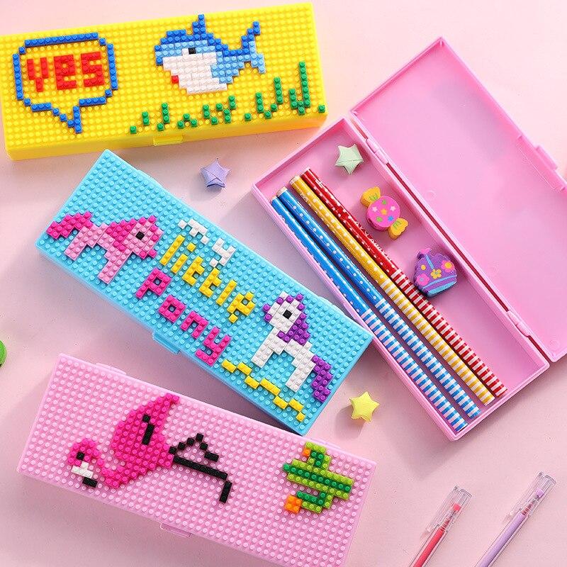 DIY puzzle cute pencil case Cartoon stationery box big pen case Intellectual Children pen box Handmade pen bag stationery gift