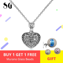 100% 925 Sterling silver forever in my heart pendant cremation Pattern urn necklace chain for Women memorial Jewelry