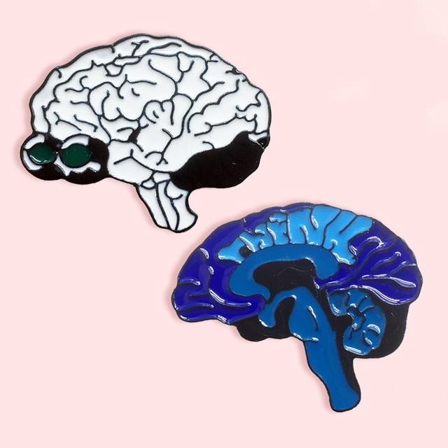 Nouveau organe humain dessin animé broche bleu blanc cerveau cerveau organe anatomie cerveau neurone denim vêtements pendentif bijoux cadeau