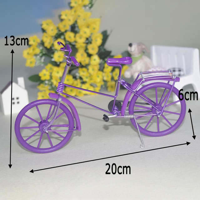 Creative Handmade Iron Bicycle Decoration Crafts for Home Office Gifts Figurines Miniatures Blue Pink Purple Small Bike Model 6