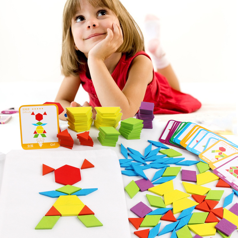 155 PCS Puzzle Educational Toys for Children Creative Games Jigsaw Puzzle Learning Kids Developing Wooden Geometric Shape Toys 3