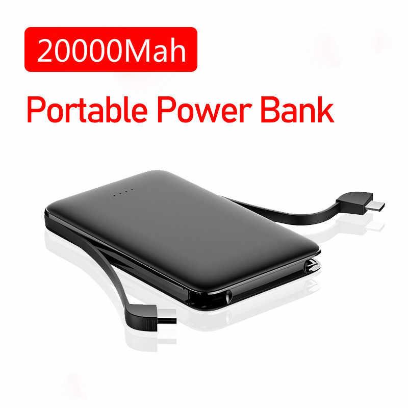 Banco de energía móvil de 20000mah, carga rápida con Cables integrados, cargador portátil de batería externa para Iphone, Xiaomi, Huawei y Samsung