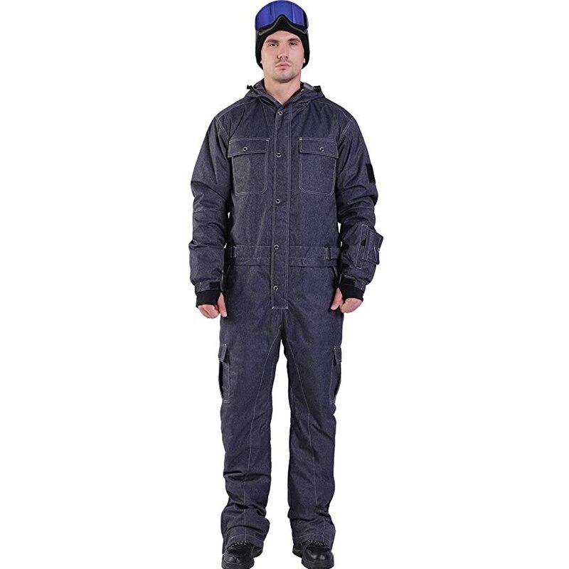 Синий волшебный водонепроницаемый Сноубординг цельный лыжный комбинезон для мужчин сноуборд-30 градусов лыжный костюм зимняя одежда комбинезон - Цвет: NVVY DENIM