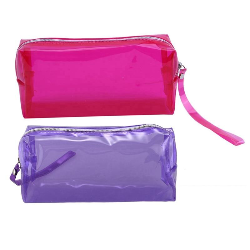 2 Pcs Transparent Pencil Cases Zipper School Girl Cute Pencil Cases 19.5X 6 X 9Cm, Purple & Rose Red