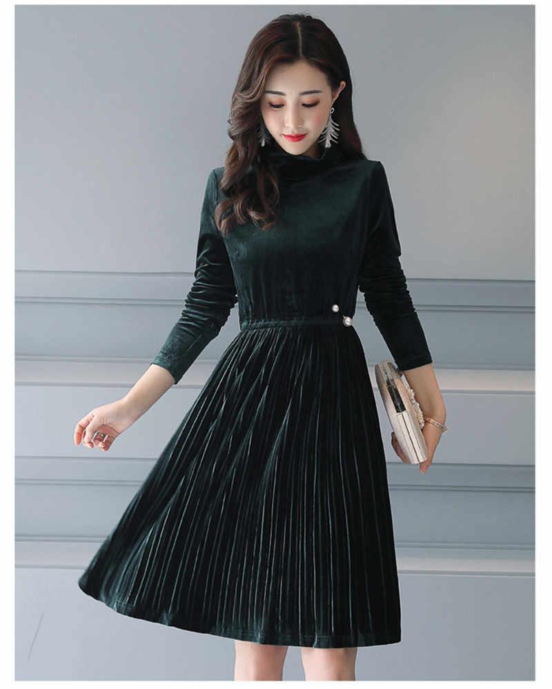 2020 Winter Vintage Velvet Dress Women Vestido Casual Bodycon Dress Plus Size Green Soft Ladies Sexy Dresses 3XL WXF527