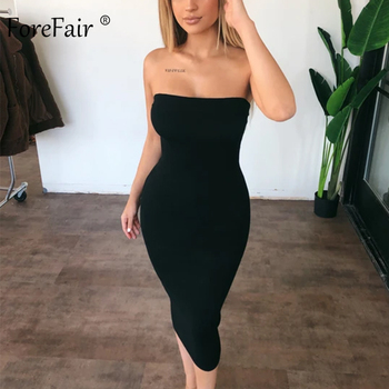 Forefair Sexy Long Dress Women Summer 2019 Club Off Shoulder Strapless Bodycon Dress White Black Red Party Tube Dress Women 1