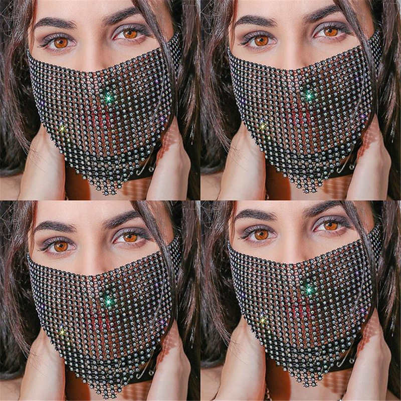 Fashion Mesh Metal Crystal Rhinestone Face Mask For Women Black Silver Vintage Crystal Mouth Mask Popular Body Jewelry