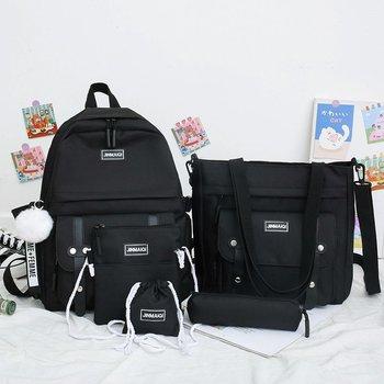 5 pcs sets canvas Schoolbags For Teenage Girls Women Backpacks Laptop keychain School Bags Travel Bagpack Mochila Escolar 1