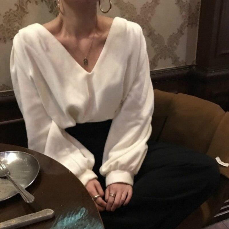 Women Autumn White Cotton Tops Ladies Long Sleeve Thick Blouse V Neck Shirt Blusas Mujer Plus Size Elegant Haut Chemisier Femme