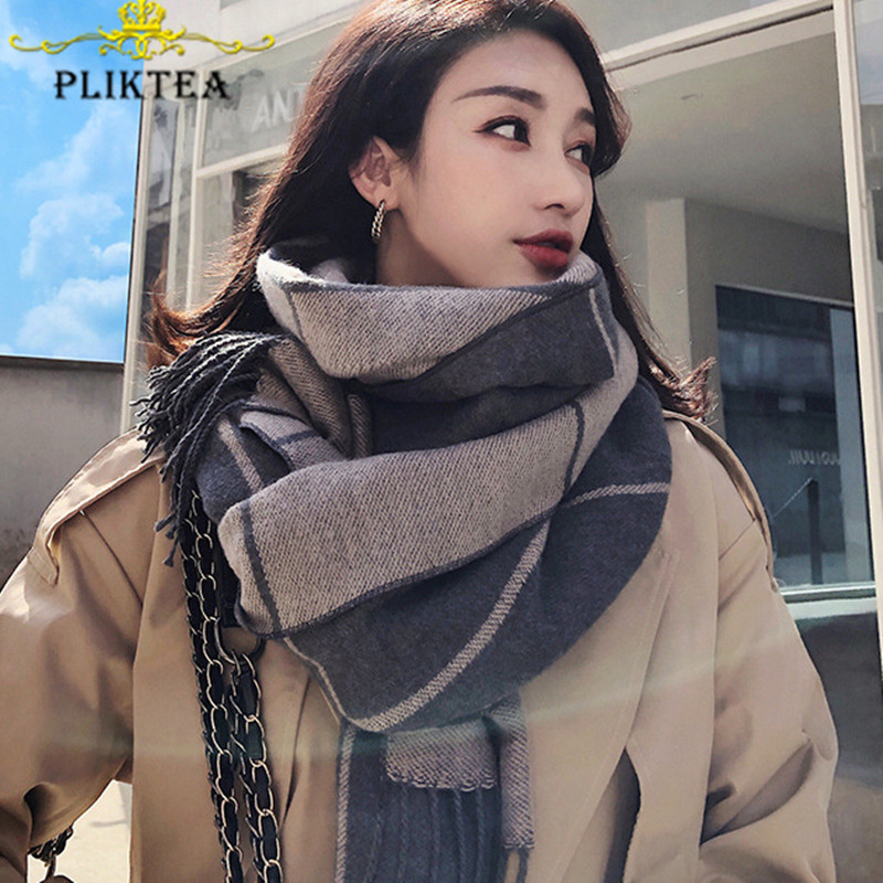 220*70 Big Size Gray Plaid Scarf For Women Winter Shawl Female Pashmina Ladies Tippet Scarf Warp Women Winter Blanket Scarves