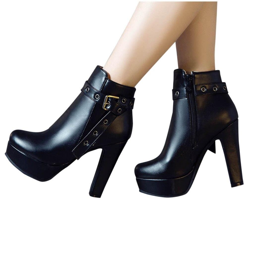 SAGACE Boots Women High-Heels Platform Autumn 7 Waterproof 12cm Mujer Zipper