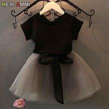 MERI AMMI для Детская Одежда для девочек, комплект одежды: футболка+ большие юбки-пачки, с бантом для От 2 до 13 лет для девочек, J540