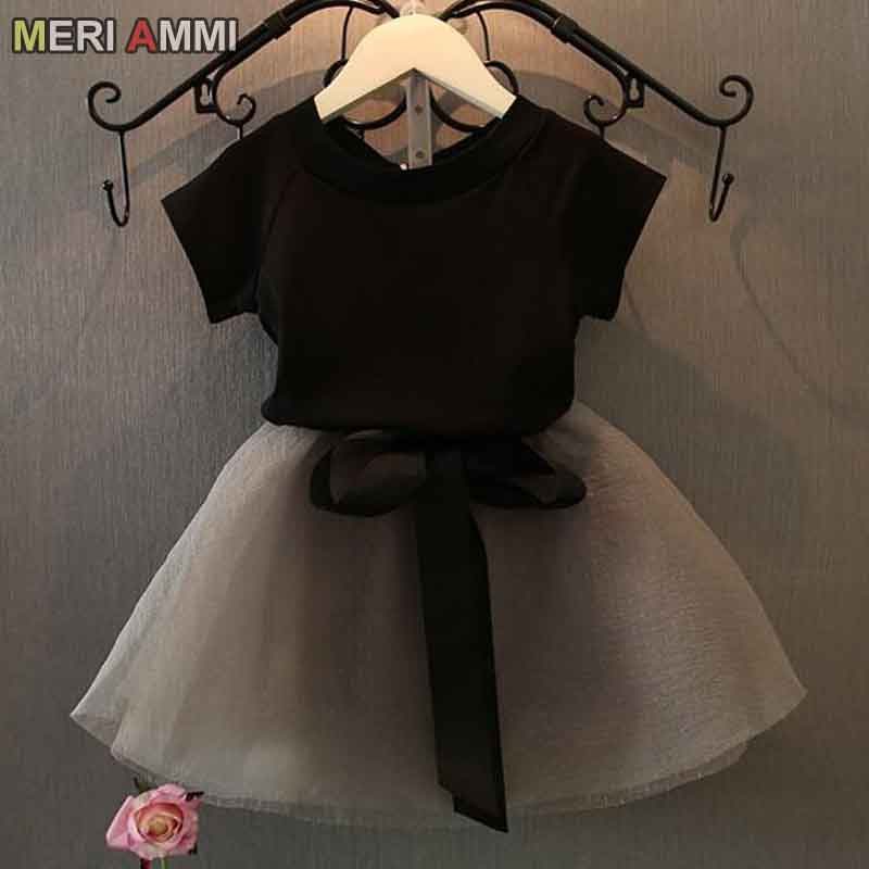 MERI AMMI For Children Girls' Clothing Outfit Set Tee +Big Bow TuTu Skirts For 2-13 Year Girl ,J540