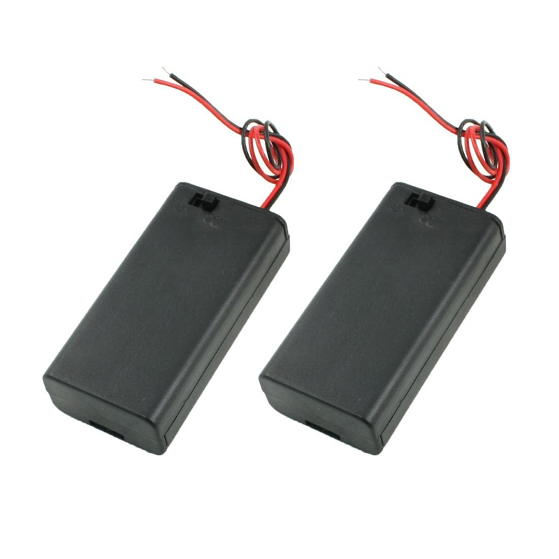 Купить с кэшбэком 2PCS Battery Box Holder for 2x1.5V AA Batteries w Cover On/Off Switch