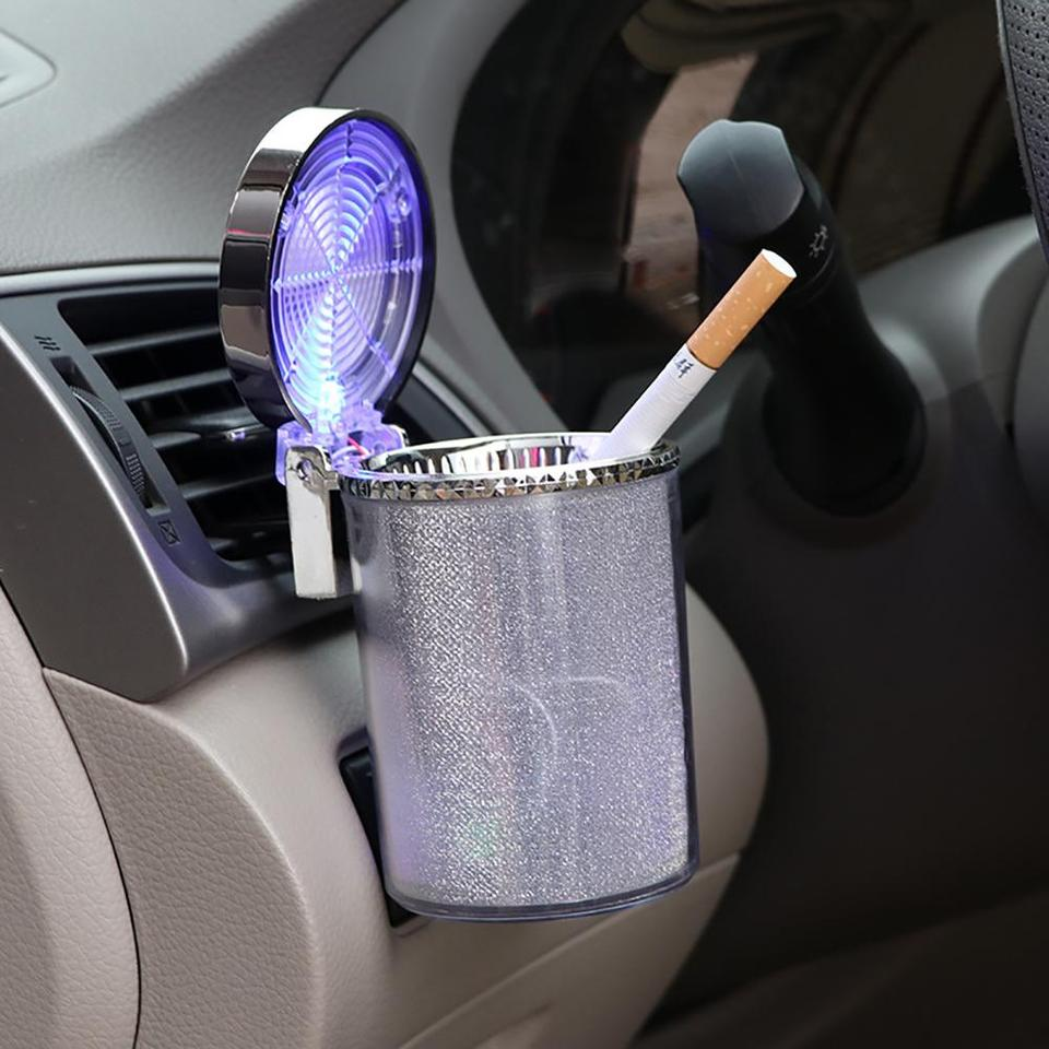 FANZIFAN Car Ashtray,Portable Car Ashtray,Lidded Holder with Blue LED Light Flame Retardant Easy Clean Up Car Ashtray for Most Car Cup Office Home
