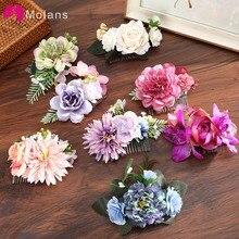 Molans Boho Bridal Hair Combs Floral Wedding Headwear Women Flower Hairpins Hair Clips Brides Hair Accessories Greenery Combs